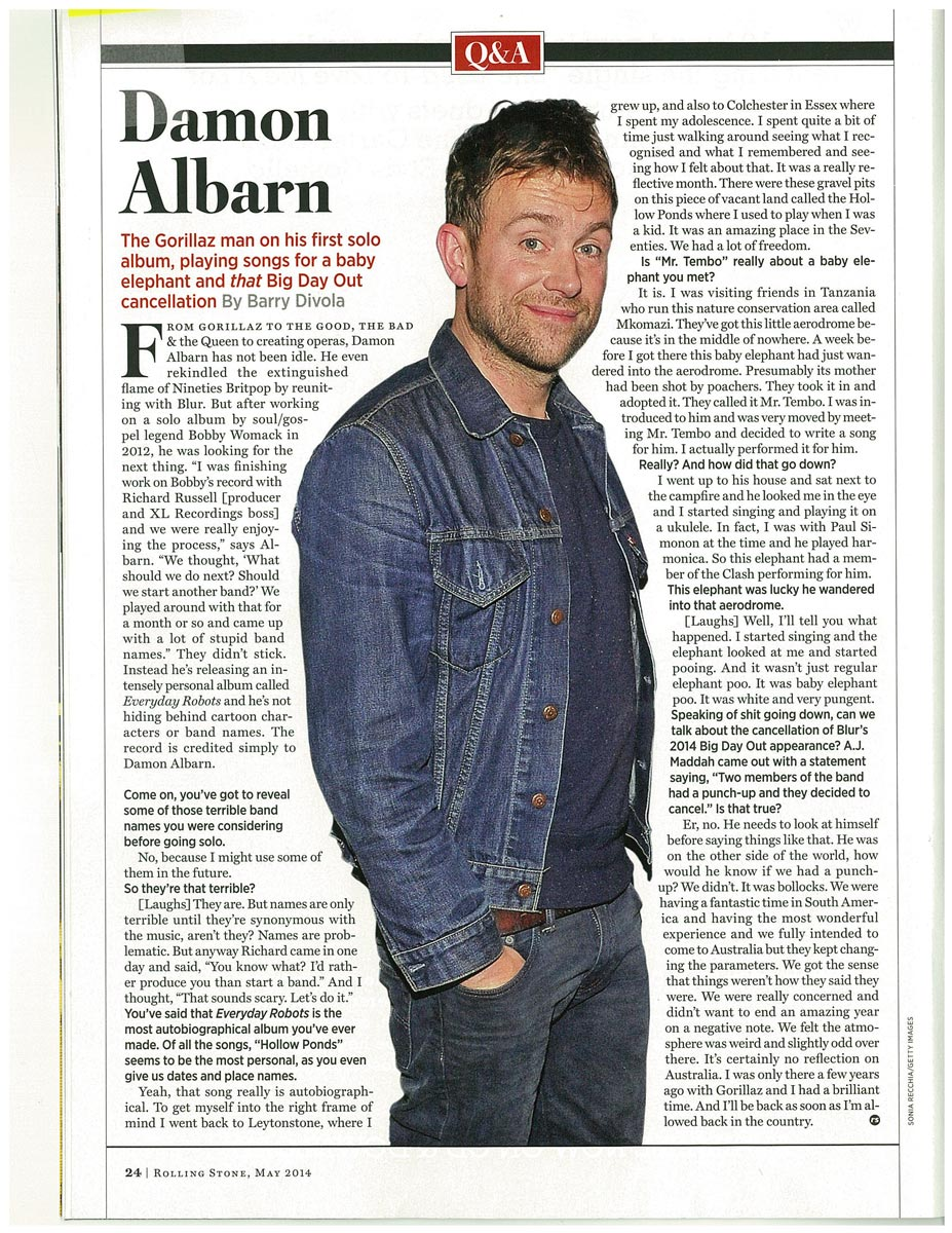 Interview with Rolling Stone Australia <br/> May 2014