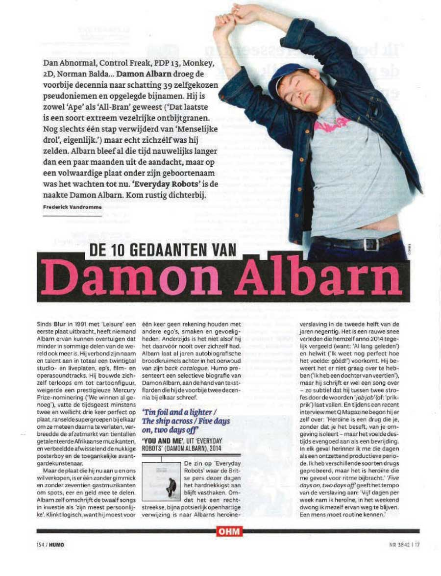 Interview with Humo <br/> April 22 2014