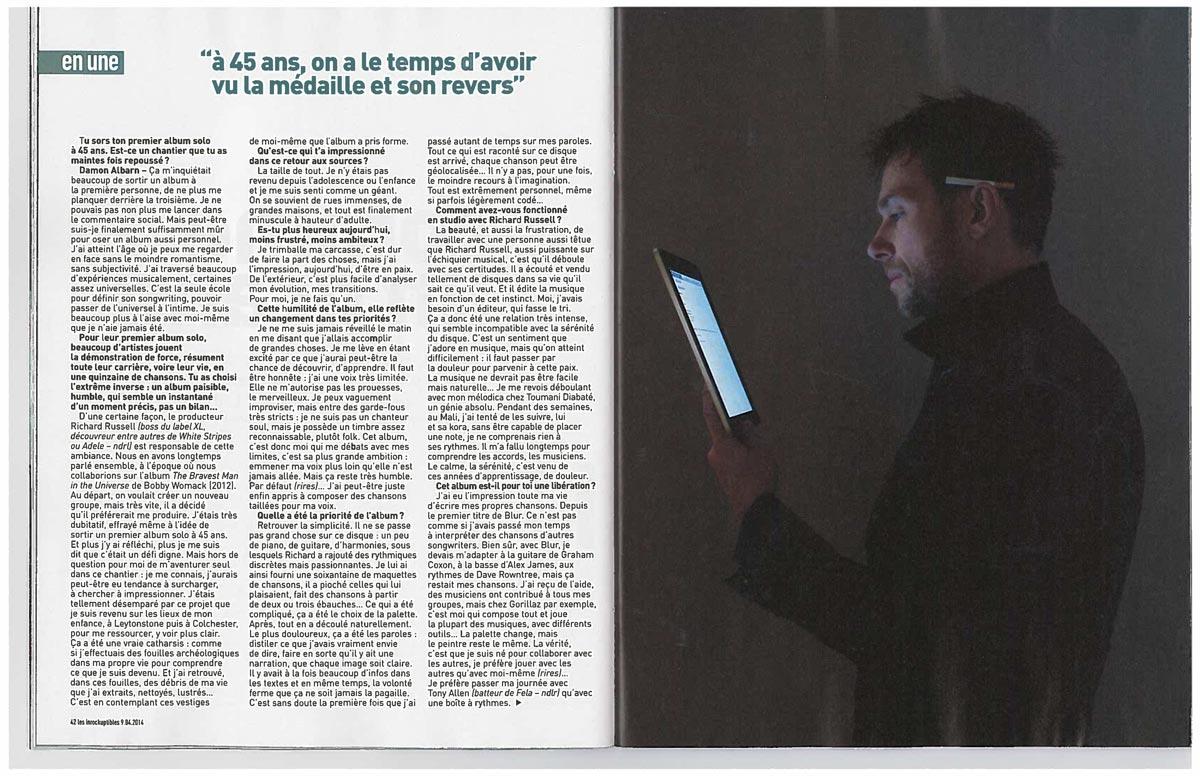 Interview in Les Inrocktuptibles <br/> April 9 2014